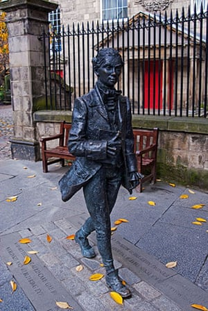 Literary Edinburgh: A statue of Robert Fergusson, Canongate Kirk, Royal Mile