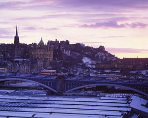 Literary Edinburgh: The view over Waverley train station and the north bridge