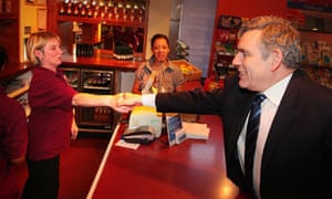 Gordon Brown meets staff at Coventry railway station on 23 April 2010.