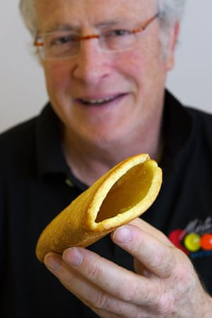 Exhibition of Inventions: Jean-Paul Magro with his invention - hollowed out bread for sandwiches