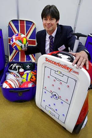"""Exhibition of Inventions: Lee Jenkins with his invention the """"SoccerTrolley"""""""