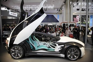 Beijing car show: Visitors take photos of Italy's Bertone Pandion futuristic concept car