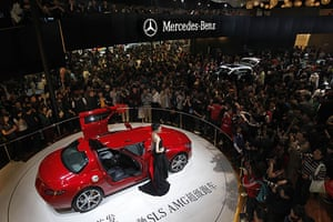 Beijing car show: Visitors gather around the new Mercedes-Benz SLS AMG