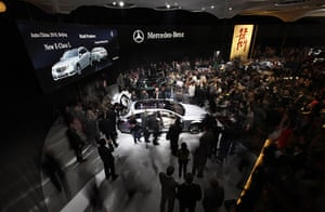 Beijing car show: Visitors gather around a Mercedes Benz new long version of the E-Class