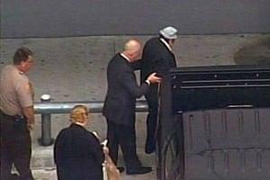 Manuel Noriega: April 26 2010: Manuel Noriega is led into Miami International Airport