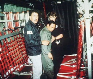 Manuel Noriega: January 4 1990: Noriega is escorted to a plane at Howard Air Force base
