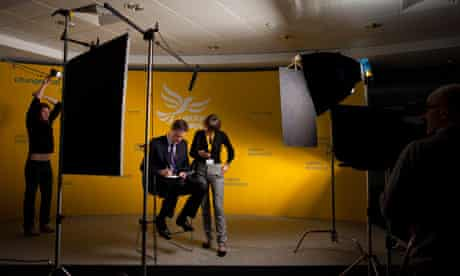 Nick Clegg prepares to record a message at The Work Foundation in Westminster.