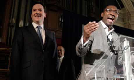George Osborne is booed at an Operation Black Vote event on 28 April 2010 with Kwame Kwei-Armah.