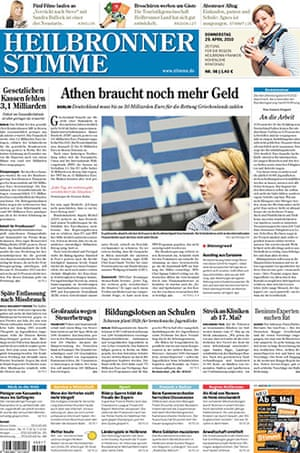 German front pages: Front pages of German newspapers Thursday 29th April 2010 about Greece debt