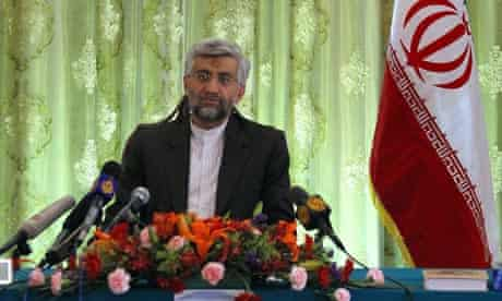 Iran's chief nuclear negotiator Jalili during a media conference at the Iranian embassy in Beijing