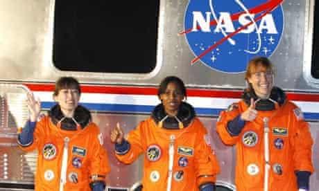 Discovery astronauts Dorothy Metcalf-Lindenburger, Stephanie Wilson and Naoko Yamazaki