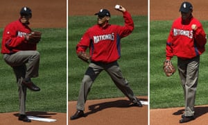 Obama throwing out the ceremonial first pitch prior to the Major League Baseball's opening game