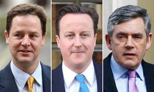 The three party leaders today - Nick Clegg, David Cameron and Gordon Brown.