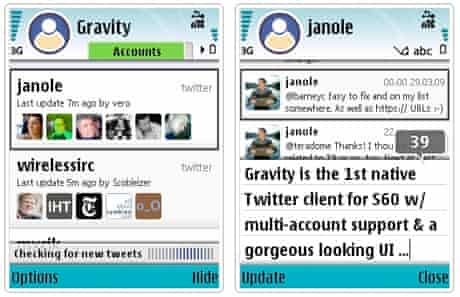 Gravity, the Symbian Twitter client