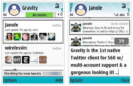 App of the day: gravity, the symbian twitter client | media | the.