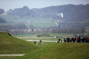 Solar Impulse: The Solar Impulse aircraft lands at the airport in Payerne