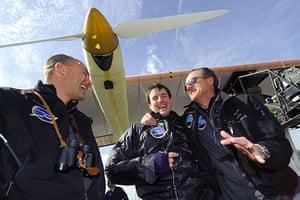 Solar Impulse: Bertrand Piccard, Markus Scherdel and Andre Borschberg celebrate