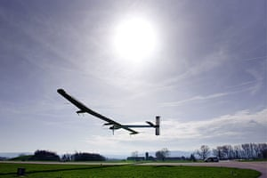 Solar Impulse: The solar powered aircraft, with test pilot Markus Scherdel on board