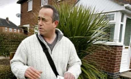 Simon Darby, deputy leader of British National Party (BNP) hands out election leaflets in Stoke
