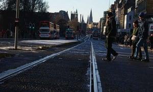 Trams tracks: Trams tracks in Edinburgh