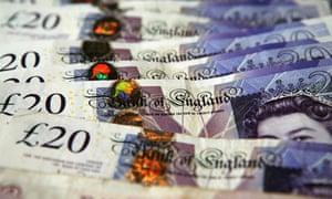 British money, £20 notes.