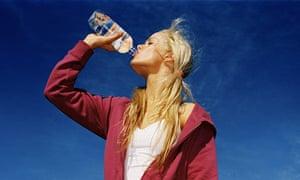 Drinking bottled water