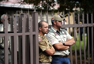TerreBlanche: Members of the Afrikaans Resistance Movement (AWB) stand guard