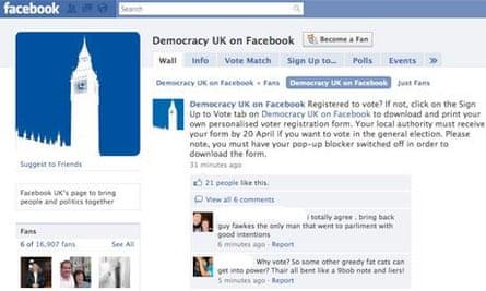 Facebook Democracy UK screengrab