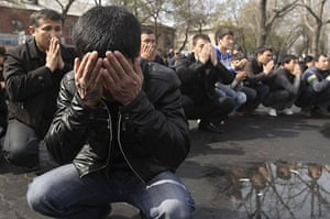 24 hours in pictures: Bishkek, Kyrgyzstan: People gather to mourn poeple killed by police