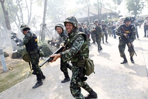 24 hours in pictures: Thai army soldiers advance towards anti-government protesters