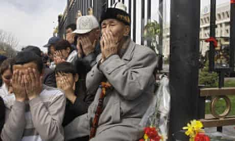 Crowds at central square in Bishkek yesterday gathered to mourn those killed during the revolt