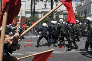 Athens Riot: Protestors clash with police by the Greek parliament