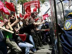 Athens Riot: Protesters clash with policemen during riots at a May Day rally in Athens