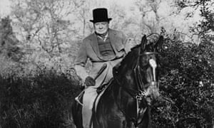 Winston Churchill riding to hounds in 1948