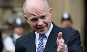 William Hague speaking after the meeting of Tory MPs