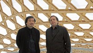 Metz Pompidou: Shigeru Ban, left, with Jean de Castines