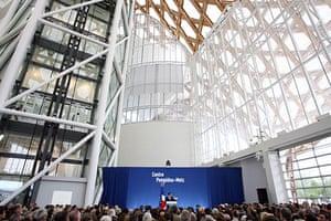Metz Pompidou: Nicolas Sarkozy delivers a speech during the inaugural ceremony
