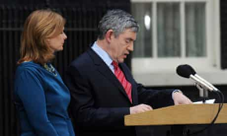 Gordon Brown resigns, accompanied by his wife, Sarah, on 11 May 2010.