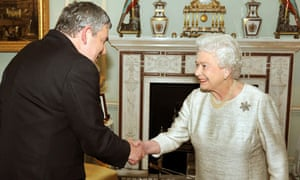 The Queen greets Gordon Brown at Buckingham Palace for an audience at which he tended resignation