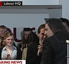 Gordon Brown greets Labour party workers after resigning on 11 May 2010.