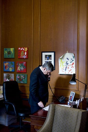 Behind the scenes: Gordon Brown takes the phone call from Nick Clegg