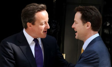 David Cameron and Nick Clegg as prime minister and deputy prime minister outside No 10, 12 May 2010