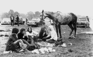 Glastonbury at 40:  young people in the improvised campsite at the Glastonbury Pop Festival.