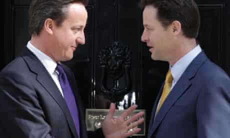 Nick Clegg and David Cameron at Downing Street.