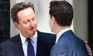 David Cameron and Nick Clegg on the doorstep  of 10 Downing Street