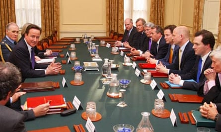 David Cameron chairs the first meeting of the national security council in the cabinet room