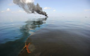 Deepwater Horizon: Gulf Oil Spill Begins To Reach Land : Oil burns during a controlled fire