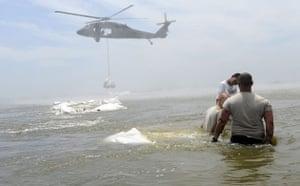 Deepwater Horizon: Gulf Oil Spill Begins To Reach Land: Louisiana National Guard Black Hawks