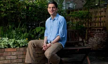 David Miliband in garden of London home