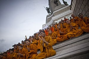 bangkok violence: Buddhist monks gather at Victory Monument to chant prayers for peace